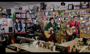 Weezer performing on NPR's Tiny Desk concert series